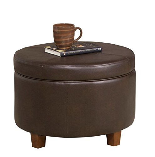 HomePop K6862-E846 Round Faux Leather Storage Ottoman Living Room Furniture, Chocolate Brown