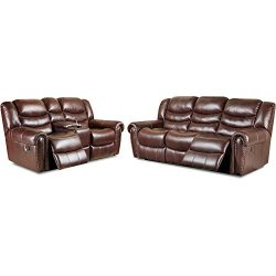 Cambridge 98502A2PC-BU Lancaster Two Piece Set: Sofa, Loveseat Living Room Furniture Sets, Brown