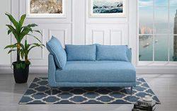 Upholstered 55.9″ inch Modern Living Room Linen Chaise Lounge (Sky Blue)