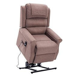 Electric Power Lift Recliner Chair Classic Comfortable (Brushed) Linen Fabric Lounge for Elderly ...