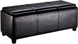 First Hill Junia Faux-Leather Storage Ottoman with 3 Serving Trays, Large – Espresso Bean  ...