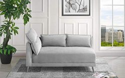 Velvet 55.9″ inch Modern Living Room Chaise Lounge (Light Grey)