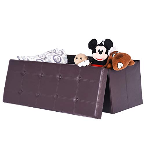"Kids Collapsible Ottoman Toy Books Box Storage Seat Chest: Amooly 44"" Faux Leather Folding Storage Ottoman Bench,Toy"