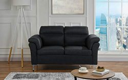 Living Room Linen Fabric Loveseat Sofa, 2 Seater Couch (Black)