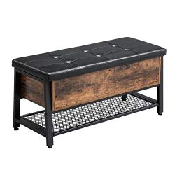 VASAGLE Vintage Shoe Bench, Storage Ottoman Bench with Padded Seat and Shoe Shelf, Multifunction ...