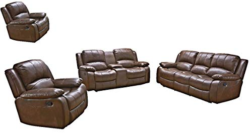 Betsy Furniture 4PC Bonded Leather Recliner Set Living Room Set in Brown, Sofa, Loveseat with Co ...