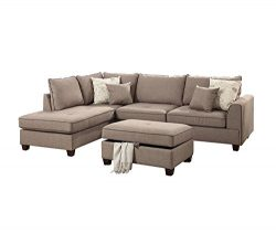 Poundex F6544 PDEX-F6544 Living Room Chaise Lounges, Mocha