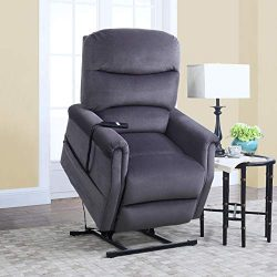 Divano Roma Furniture – Classic Plush Power Lift Recliner Living Room Chair (Blue)