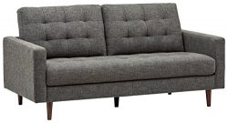 Rivet Cove Mid-Century Tufted Sofa, 71.7″W, Dark Grey