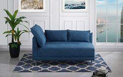 Upholstered 55.9″ inch Modern Living Room Linen Chaise Lounge (Dark Blue)