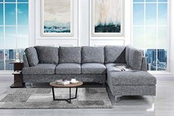 Tufted Linen 101.1″ inch Sectional Sofa, Classic Living Room L-Shape Couch (Dark Grey)