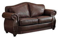 Homelegance 9616BRW-2 Loveseat, Dark Brown Bonded Leather
