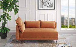 Velvet 55.9″ inch Modern Living Room Chaise Lounge (Rust)
