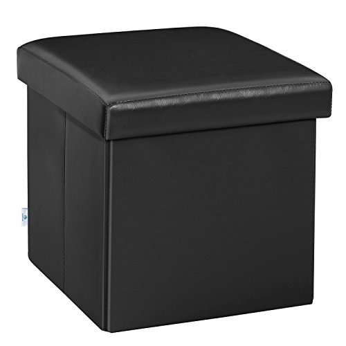 B FSOBEIIALEO Folding Storage Ottoman Cube with Faux Leather Toy Chest Footrest for Baby Black 1 ...