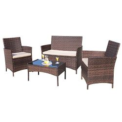Homall 4 Pieces Outdoor Patio Furniture Sets Rattan Chair Wicker Set,Outdoor Indoor Use Backyard ...