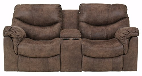 Ashley Furniture Signature Design – Alzena Recliner Loveseat with Console – Manual R ...