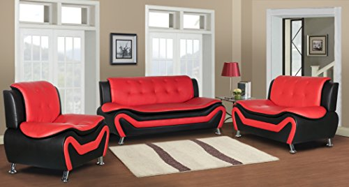 Container Furniture Direct S5412-3PC Arul Leather Air Upholstered Mid Century Modern Set 77.5 ...