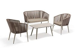 Patio Outdoor Balcony Furniture Living Room Conversation Chairs Set Indoor with Wooden Table and ...