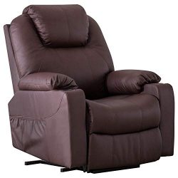 Harper&Bright Designs Power Lift Chair Recliner with PU Leather Living Room (Brown)