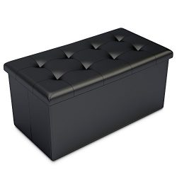 Home-Complete HC-7001 Storage Ottoman-Faux Leather Rectangular Bench with Lid-Space Saving Furni ...
