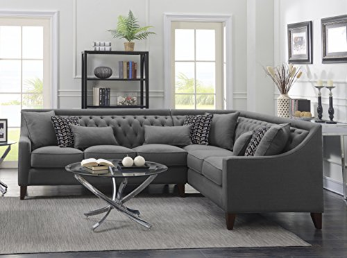 Iconic Home FSA2678-AN Chic Aberdeen Linen Tufted Down Mix Modern Contemporary Right Facing Sect ...