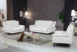 Matisse Milano Contemporary Leather Sofa Set (White)
