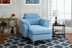 Modern Living Room Linen Fabric Chaise Lounge with Arm Rests (Light Blue)