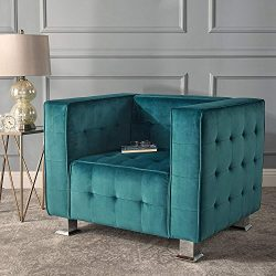Decco Modern Velvet Club Chair, Dark Teal and Silver
