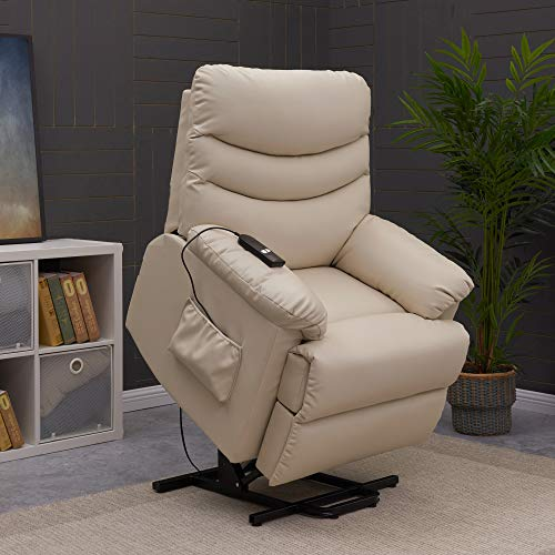 Domesis Wall Hugger Power Recline and Lift Chair in Cream Renu Leather