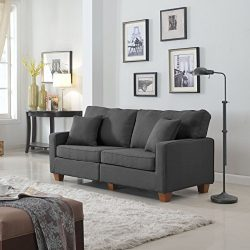 Classic 73-inch Love Seat Living Room Linen Fabric Sofa (Dark Grey)