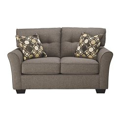 Ashley Furniture Signature Design – Tibbee Contemporary Upholstered Loveseat – Slate