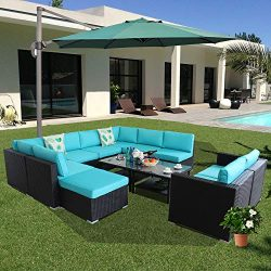 Outime Patio Rattan Sofa New Year Party Sofa PE Black Rattan Wicker Couch Set 12pcs Big Pool Pat ...