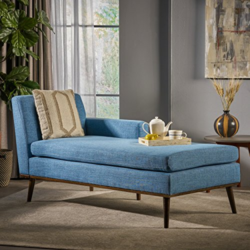 Sophia Mid Century Modern Muted Blue Fabric Chaise Lounge