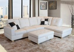 Beverly Fine Funiture CT92B Sectional Sofa Set, 92B White