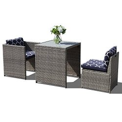 Orange Casual 3Pcs Outdoor Conversation Set Wicker Patio Furniture Sets with Glass Top Table &am ...