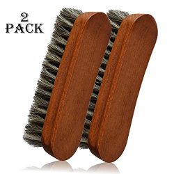 2PCS 6.7″ Horsehair Shoe Shine Brushes with Horse Hair Bristles for Boots, Shoes Handbags  ...