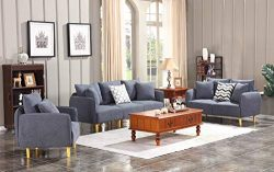 HONABY 3 Piece Chair Loveseat Sofa Sets for Living Room Furniture Sets, Dark Grey