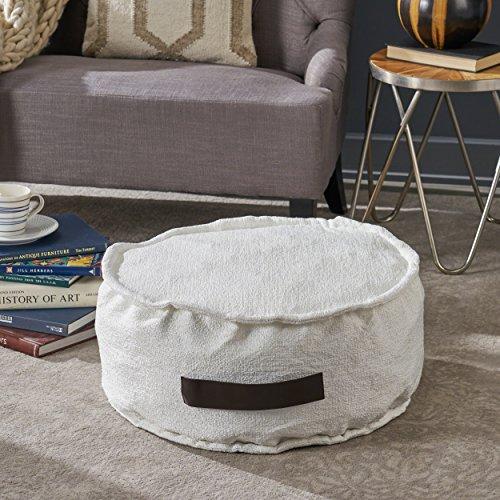 Alice White Fabric Round Bean Bag Ottoman Gvdesigns