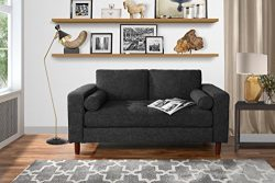 Modern Sofa Loveseat with Tufted Linen Fabric – Living Room Couch (Dark Grey)
