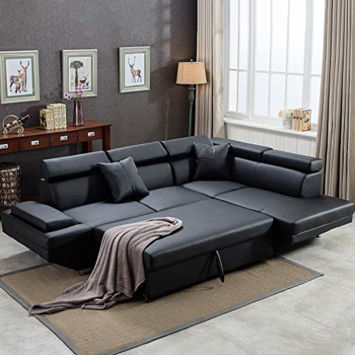 Sofa Sectional Sofa Living Room Furniture Sofa Set Leather Futon Sleeper Couch Bed Modern Contem ...