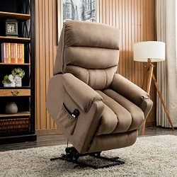 CANMOV Electric Power Lift Recliner Chair Comfortable Antiskid Fabric for Elderly with Remote Co ...