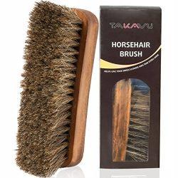 TAKAVU 6.7″ Horsehair Shoe Shine Brush – 100% Soft Genuine Horse Hair Bristles &#821 ...