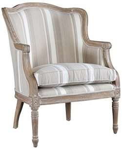 Baxton Studio Striped Charlemagne Traditional French Accent Chair, Oak Brown