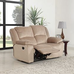 Oversize Traditional Classic Living Room Microfiber Double Recliner Loveseat (Beige)