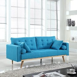 Madison Home Tufted Linen Mid-Century Modern Sofa Light Blue