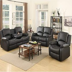 Mecor Bonded Leather Recliner,Living Room Reclining Sofa Furniture (1 Seat+2 Seat+3 Seat, Black)