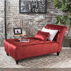 Christopher Knight Home 301264 Rubie New Velvet Chaise, Garnet