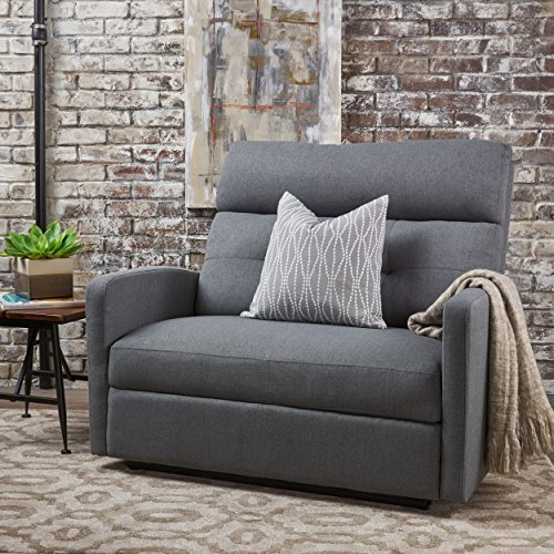 Hana Plush Cushion Tufted Back Loveseat Recliner Fabric