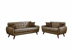 Poundex F6912 Bobkona Sonya Linen-Like 2 Piece Sofa and Loveseat Set, Grey