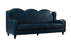 Leather Match Sofa 3 Seater, Living Room Couch, Loveseat for 3 with Nailhead Trim (Blue)